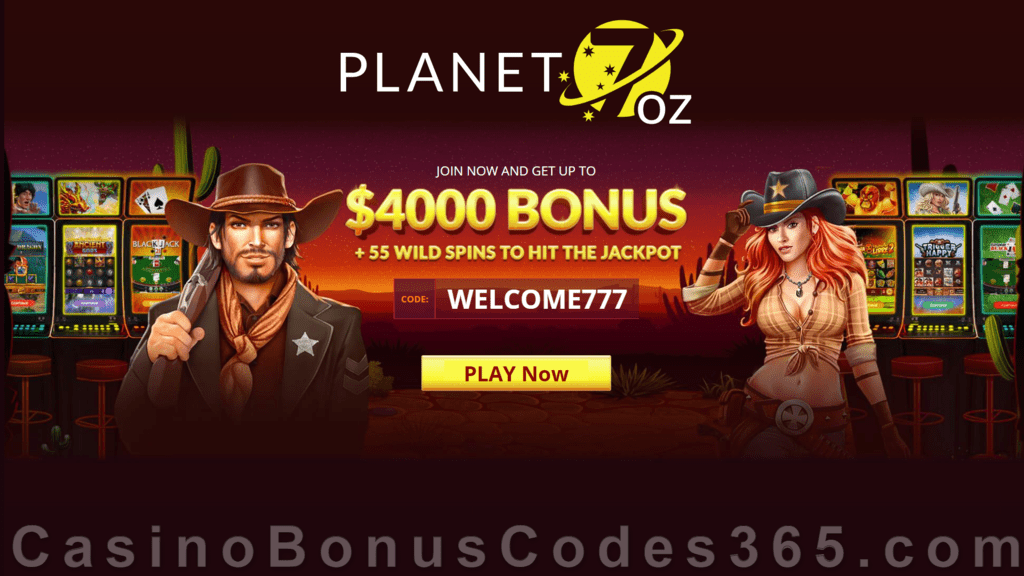 Planet 7 OZ Casino 400% Match Bonus Plus 55 FREE Spins RTG Trigger Happy Welcome Deal