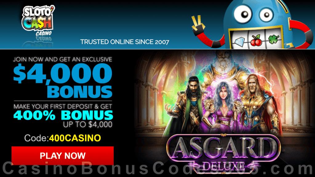 SlotoCash Casino RTG Asgard Deluxe 400% Welcome Bonus