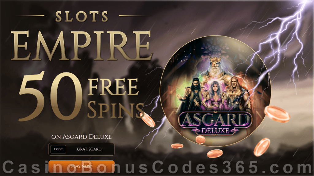 Slots Empire 50 FREE Spins on Asgard Deluxe New RTG Game Special New Players Offer