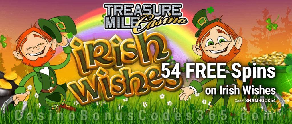 Treasure Mile Casino Exclusive 54 FREE Spins on Saucify Irish Wishes