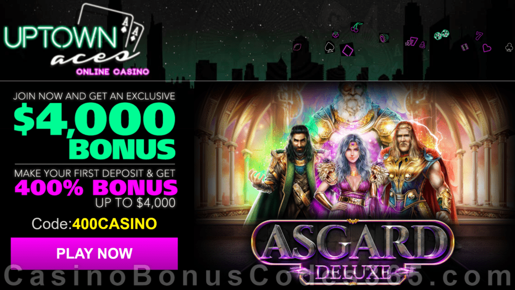 Uptown Aces Asgard Deluxe New Game 400% Welcome Bonus