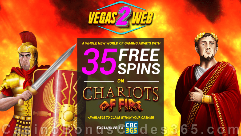 Vegas2Web Casino Exclusive 35 FREE Rival Gaming Chariots of Fire Spins No Deposit Sign Up Offer