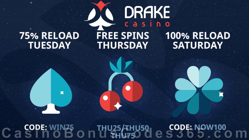 Drake Casino 100% Reload Saturday Bonus
