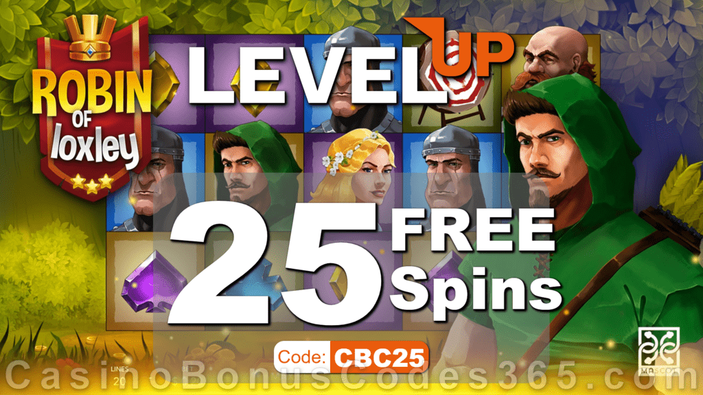 LevelUp Casino 25 FREE Mascot Robin of Loxley Spins Exclusive No Deposit Promotion