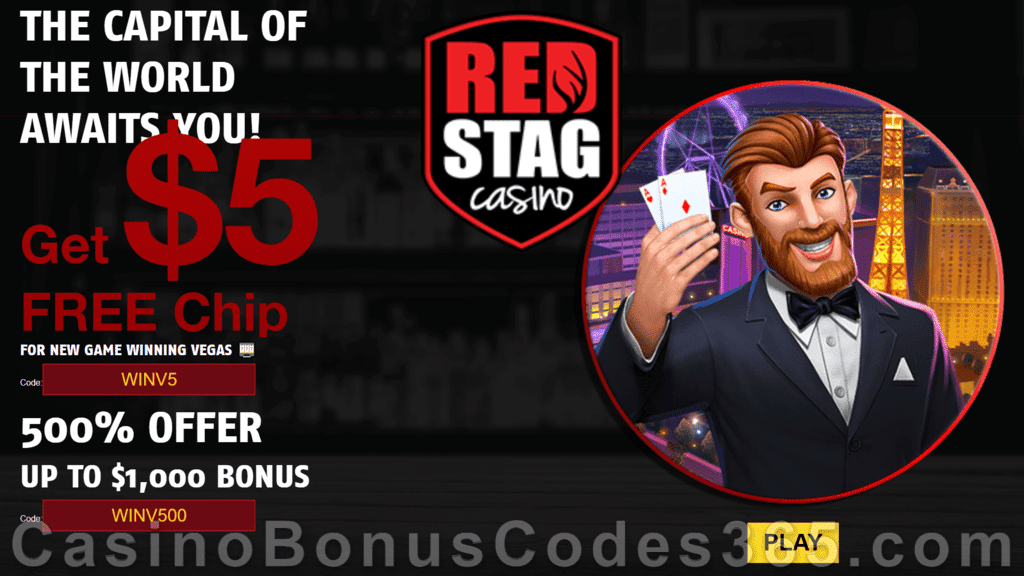 Red Stag Casino 68 FREE Spins on Winning Vegas plus 500% Match Bonus Welcome Package