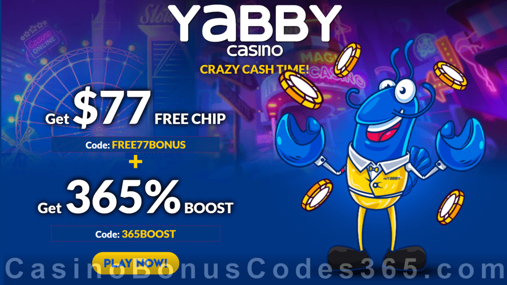 Yabby Casino Exclusive $77 No Deposit FREE Chip plus 365% Match No Max Bonus Welcome Package
