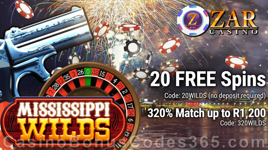 ZAR Casino 20 FREE Spins on Saucify Mississippi Wilds plus 320% + 10 FREE Spins on Mississippi Wilds Match Bonus New Players Promotion